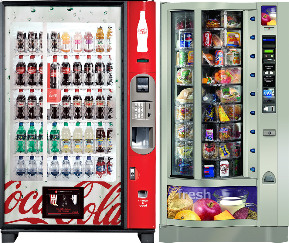 Coca-Cola beverage vending machine and fresh food vending machine in Baltimore office