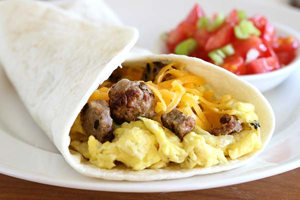 Breakfast burrito with eggs, sausage and cheese