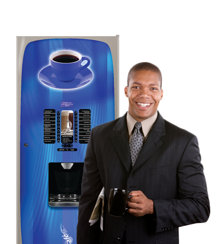 Hot coffee machine with happy employee